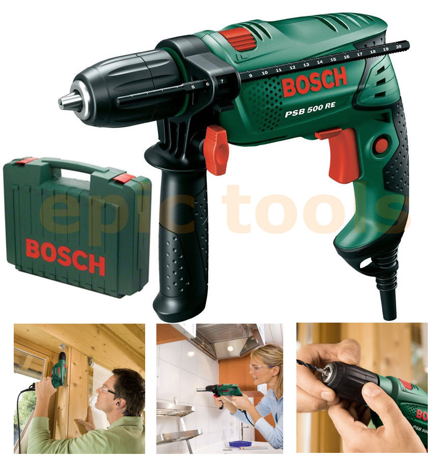 new bosch 500w psb 500 re compact mains hammer impact drill storage case 240v ebay. Black Bedroom Furniture Sets. Home Design Ideas