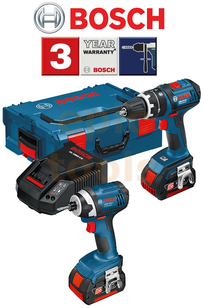 bosch 18v cordless gsb 18v li combi hammer drill gdr 18v li impact driver kit ebay. Black Bedroom Furniture Sets. Home Design Ideas