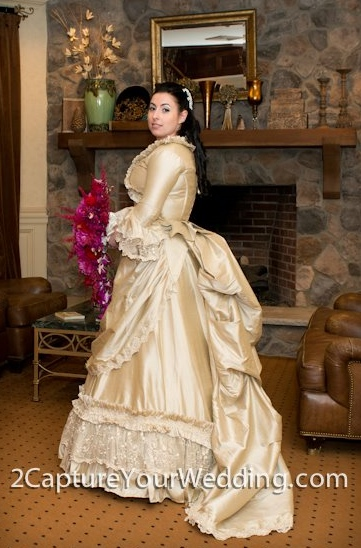 Deluxe mina victorian reproduction gown custom for Victorian bustle wedding dress