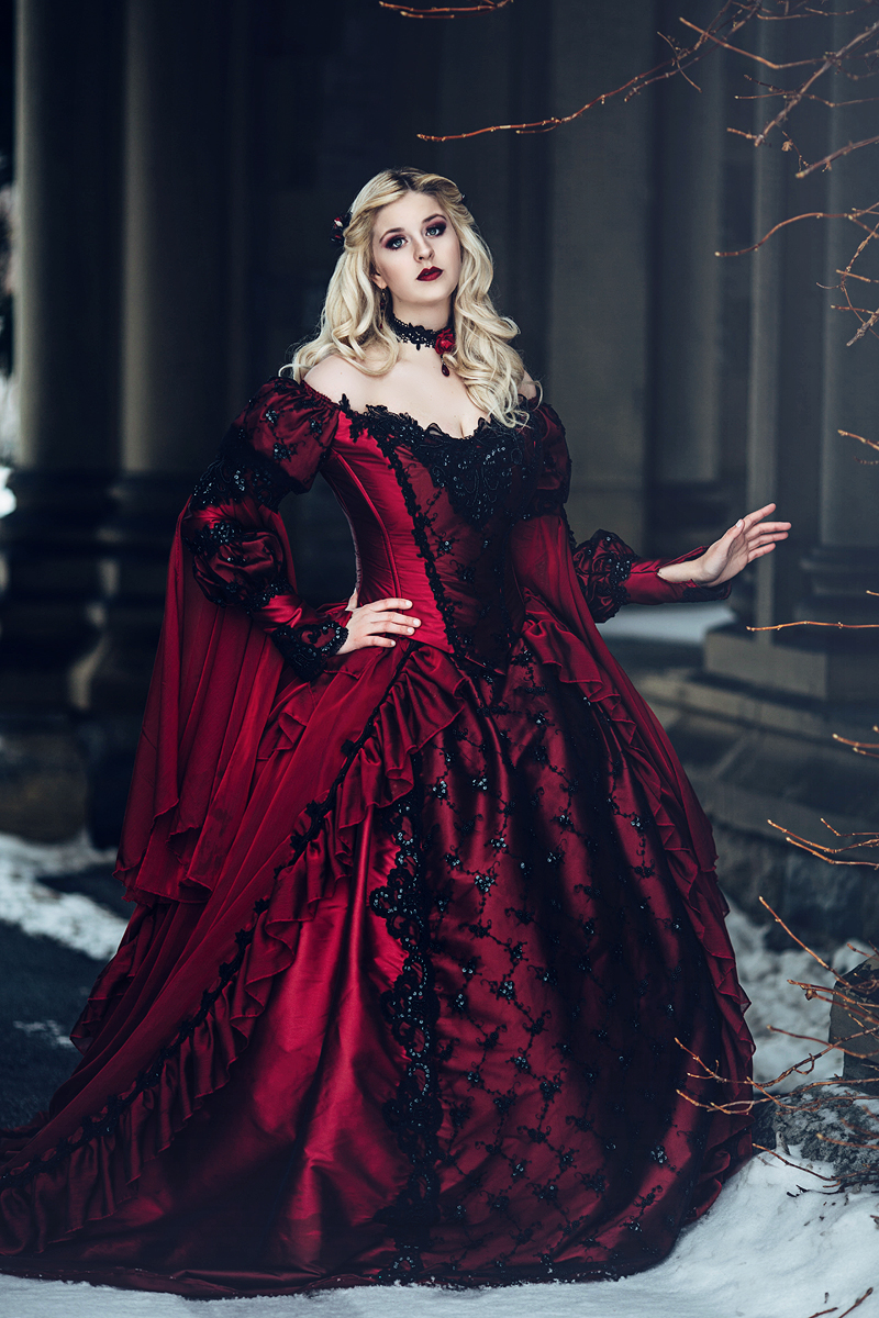 New gothic sleeping beauty or medieval fantasy gown custom for Red winter wedding dresses