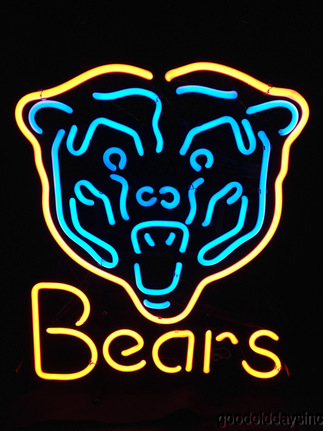 Chicago Bears Neon Beer Sign - Bear Face Bar Light