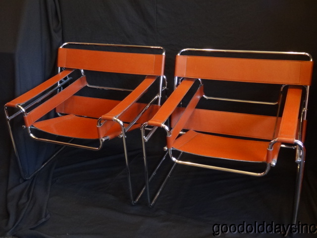 Pair of Mid Century Leather Wassily Chairs
