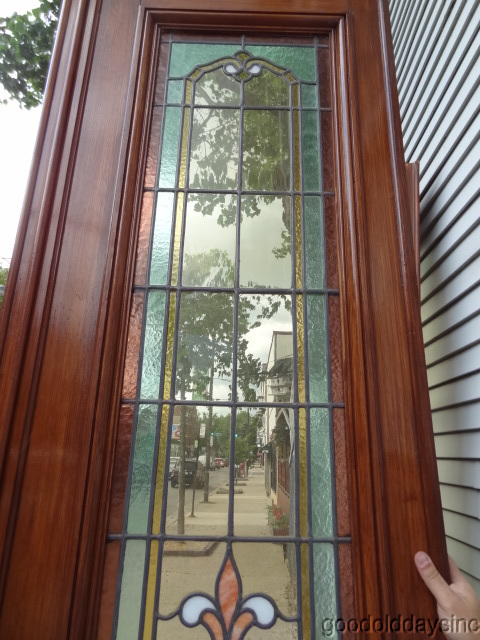 9 foot tall Victorian Style Stained Glass Leaded & Wooden Doors