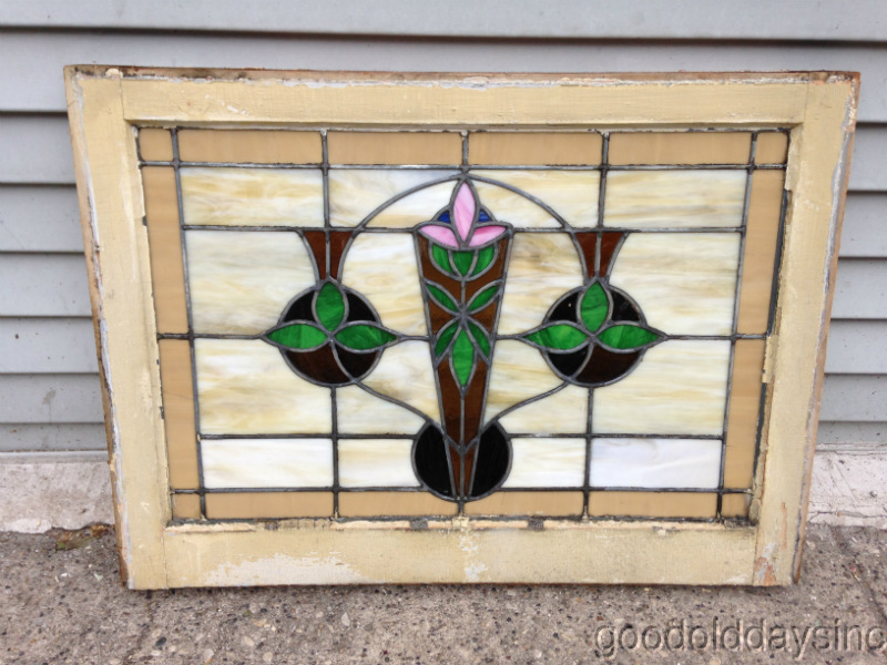 "1 of 2 Antique Chicago Bungalow Stained Glass Window 28"" x 21"""