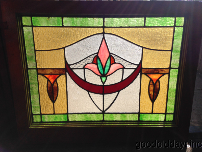 Art+Deco+-+Bungalow+-+Stained+Glass+Window+-+Nice+Chicago+Antique