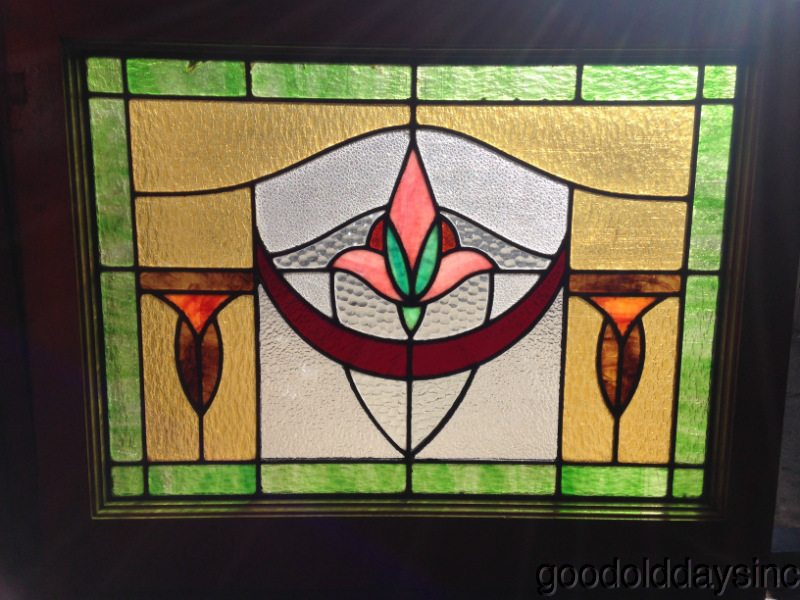 Art Deco - Bungalow - Stained Glass Window - Nice Chicago Antique