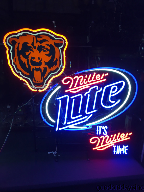 Large Miller Lite Chicago Bears Neon Beer Sign Bar Light