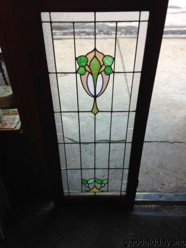 Antique Chicago Stained Leaded Glass Cabinet Door / Window. This windows  has 6 pieces for glass with cracks. One piece has shattered glass. - Antique Chicago Stained Leaded Glass Cabinet Door / Window 48