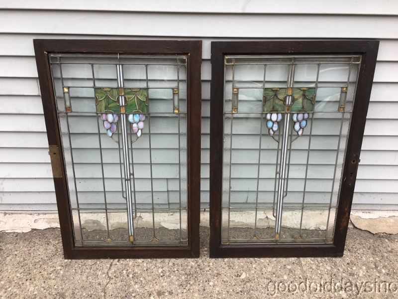Details About 2 Antique Prairie Style Grape Motif Stained Gl Oak Cabinet Doors Window