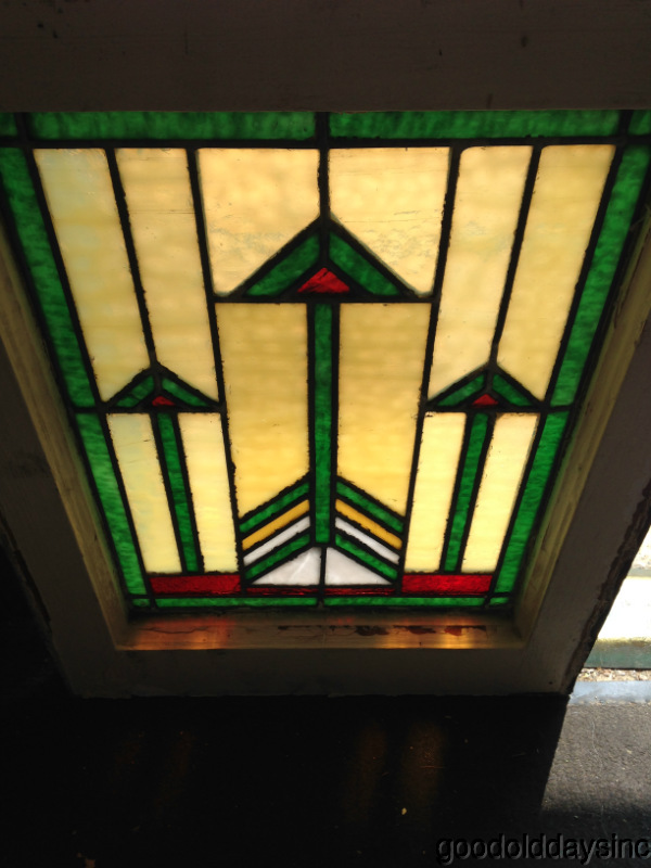 "Antique Chicago Prairie Style Leaded Stained Glass Window 21"" x 16"""