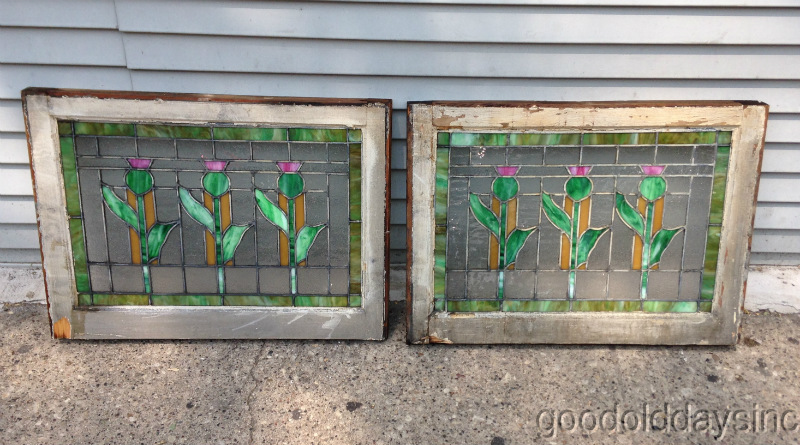 Pair of 1920s Chicago Bungalow Stained Leaded Glass Windows
