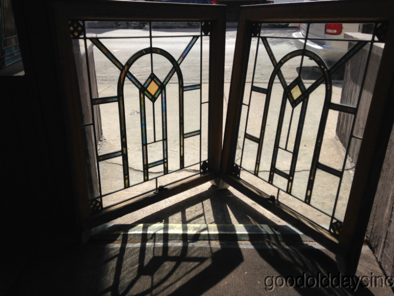 "Beautiful Pair of Chicago Bungalow Style Stained Glass Windows 32"" x 28"""