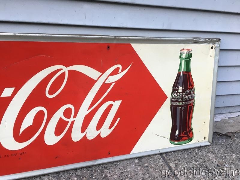 Coca Cola Soda Vinatge Fishtail Look Metal Sign Coke Fountin Advertisng 10day