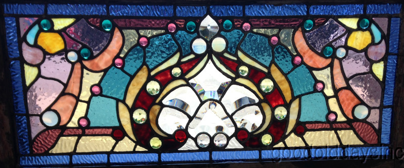 "1890's Beveled, Jeweled & Stained Glass Transom Window 34"" x 16"""