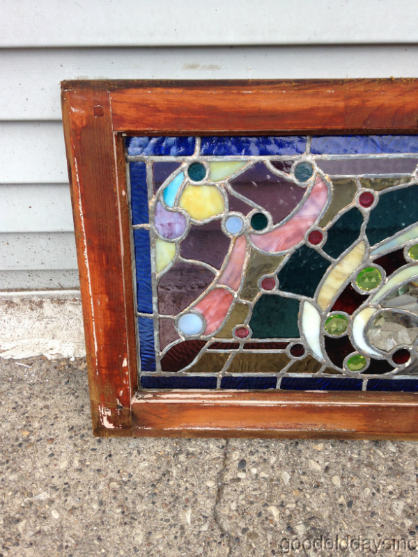 "1890s Beveled, Jeweled & Stained Glass Transom Window 34"" x 16"""