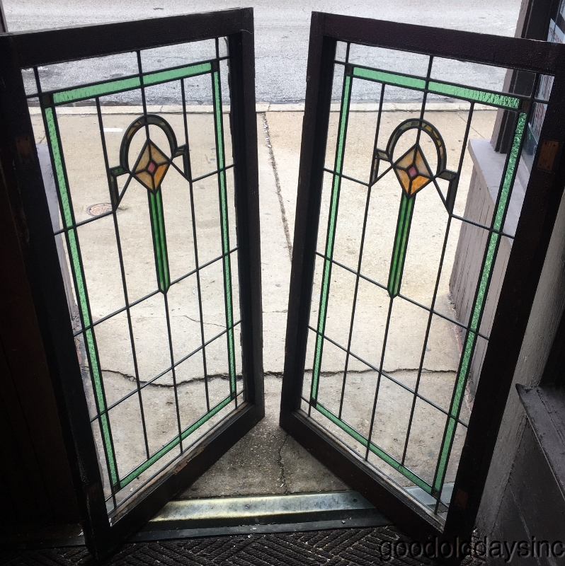 Beautiful Pair Of Antique Stained Leaded Glass Cabinet Doors