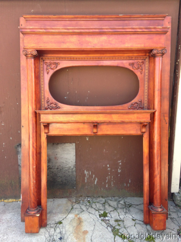 Large Antique Fireplace Mantel W Columns Spot For An Oval Mirror It Measures 88 Tall X 65 1 2 Wide There Are Two Boards On The Sides At Back That