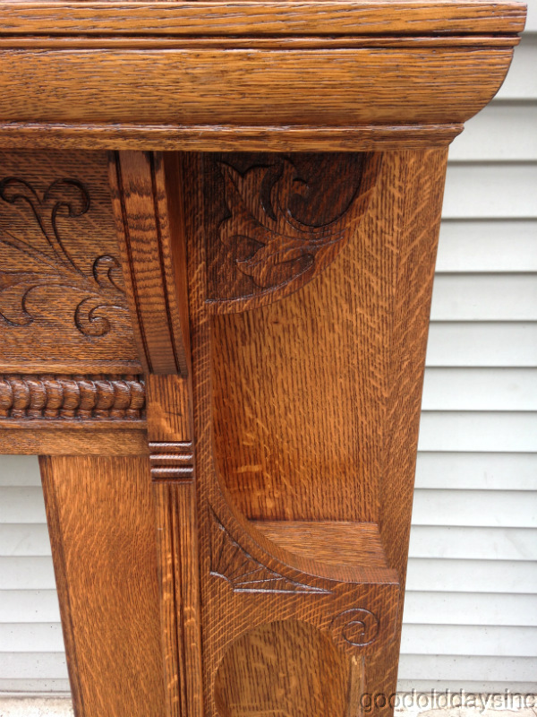 Wonderful Hand Carved Solid Tiger Oak Fireplace Mantel
