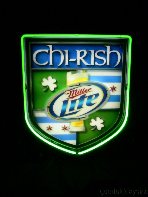 Chi-Rish Chicago Irish Miller Lite Neon Beer Sign