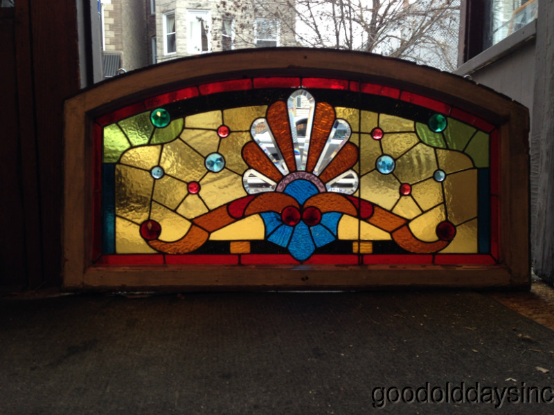Victorian 1890s Chicago Stained Leaded Glass Arched Transom