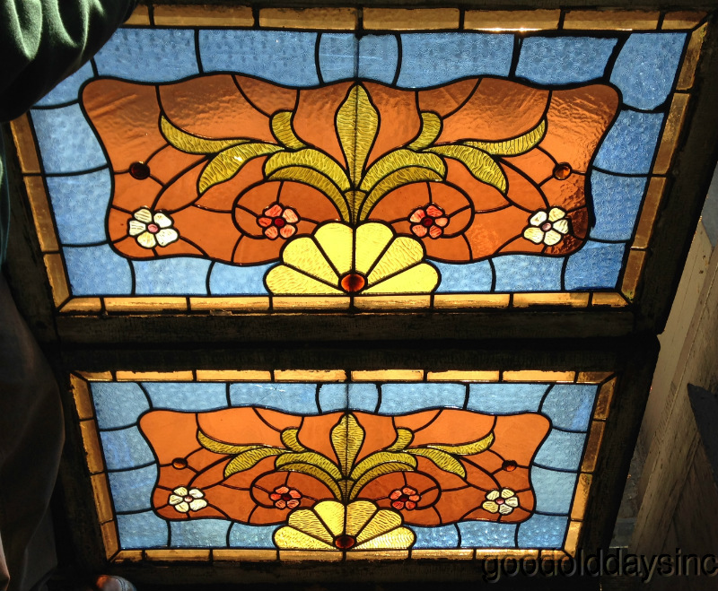 1890s Victorian Stained Glass Windows With Flowers & Jewels