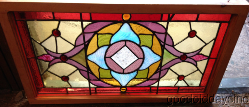 Small Antique Victorian Stained Leaded Glass Transom Window