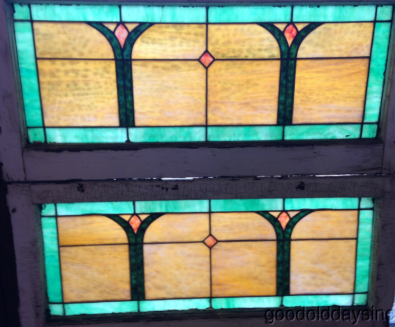 1 of 2 Antique Stained Glass Transom Window with Colorful Glass