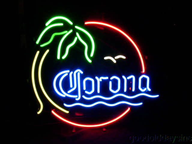 Corona Palm Tree with Water and Bird Neon