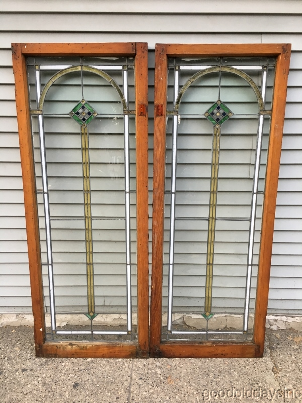 Antique 1920 S Stained Leaded Glass Doors Windows From