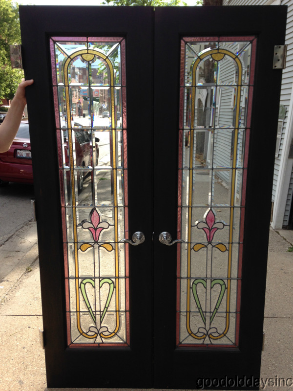 "Victorian Style Beveled and Stained Glass Leaded and Wooden Doors 66"" Tall"