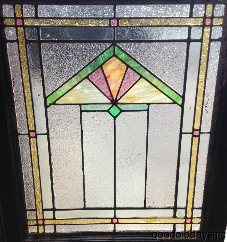 Antique art deco stained leaded glass window from chicago for Art deco glass windows