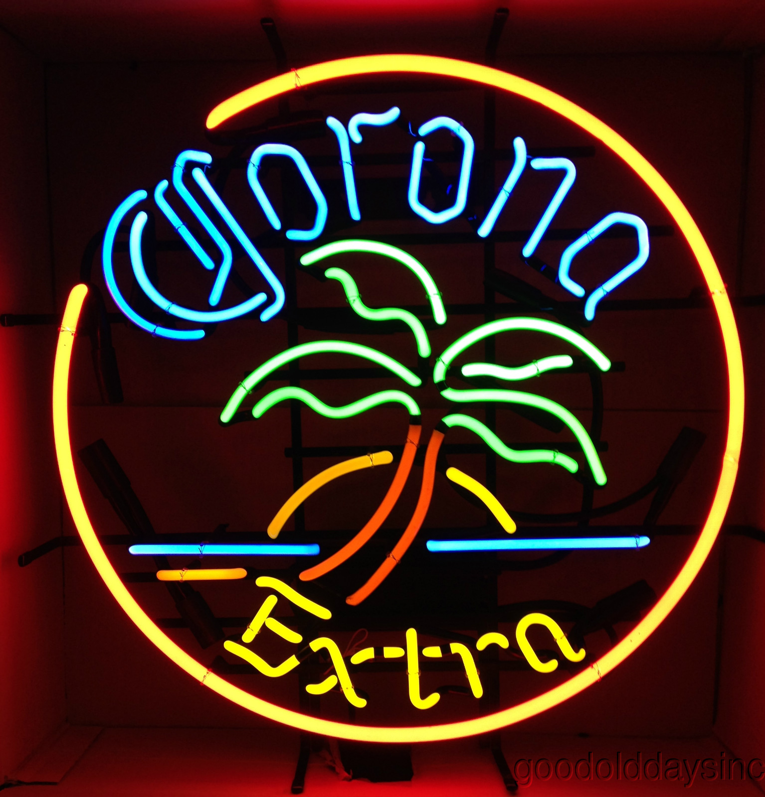 Corona Red Circle Palm Tree Neon Beer Sign