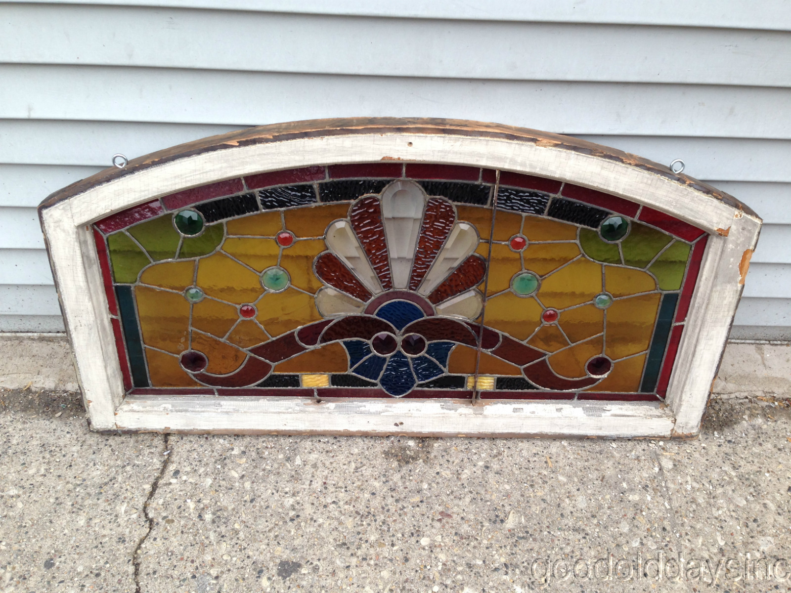 Victorian 1890s Chicago Stained Leaded Glass Arched Transom Window w Bevels & Jewels 37 3/4 x 19 3/4""