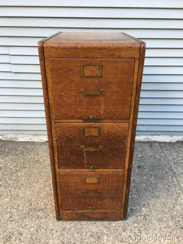 Please look over the pictures and feel free to ask questions. - Unique Antique Golden Oak 3 Drawer File Cabinet Circa 1920 EBay