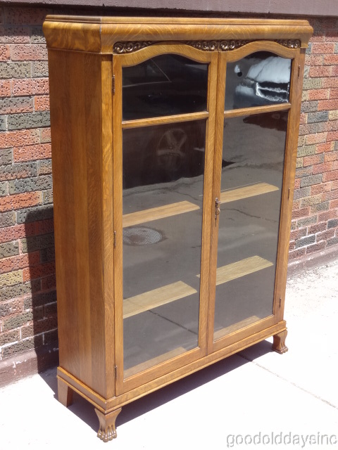 Two Door Carved Oak Bookcase
