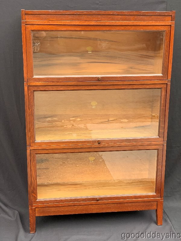 Antique Oak 5 Piece 3 Stack Macey Stacking Bookcase Barrister Lawyers Cabinet