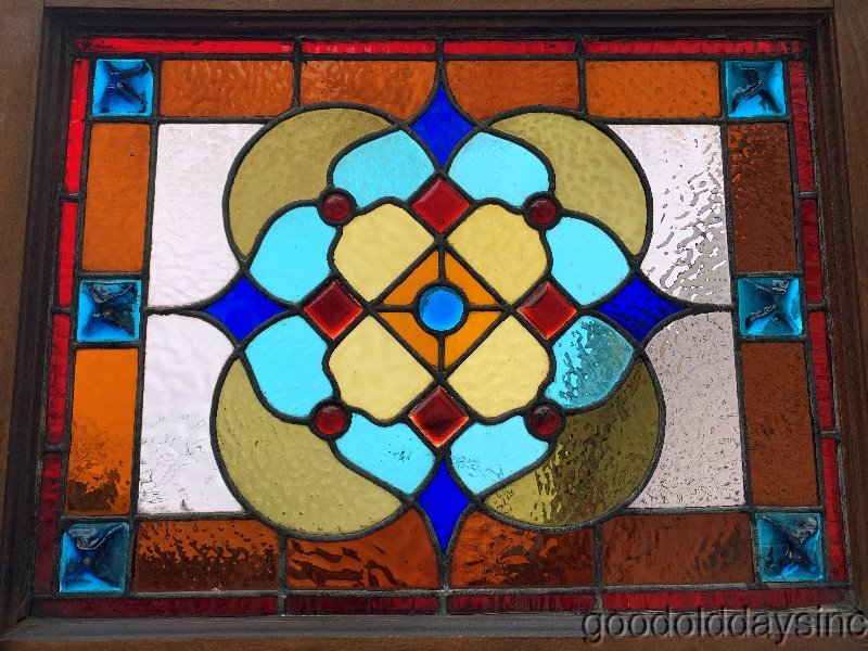 "Antique 1880s Victorian Stained Leaded Glass Window w/ Chunk Jewels 28"" x 22"""