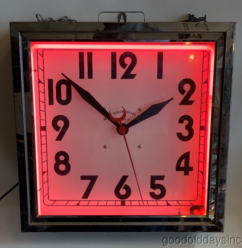Vintage Neon Clock Sales Co. of Chicago Mid-Century Pink & Chrome