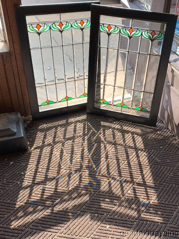 "Antique Chicago Beveled & Stained Glass Window Cabinet Doors Circa 1900 34"" x 24"
