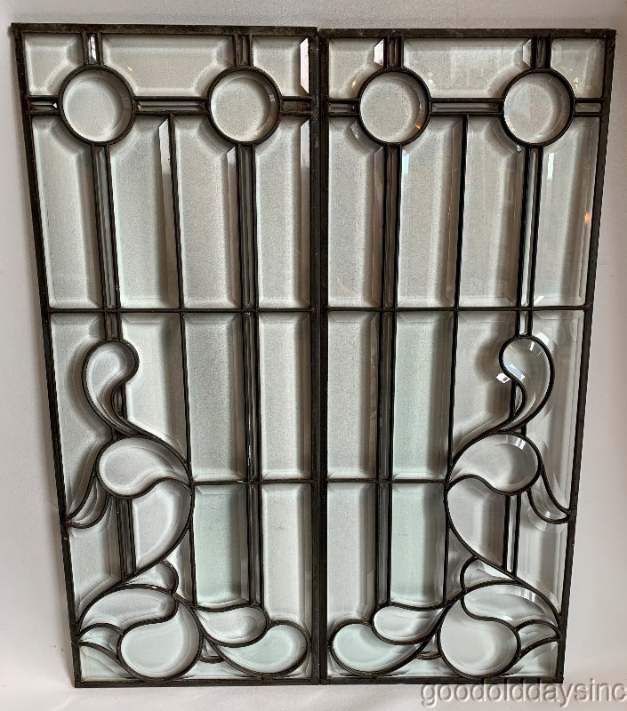 2+Antique+Victorian+Beveled+Glass+Sidelights+%2F+Transom+Circa+1890