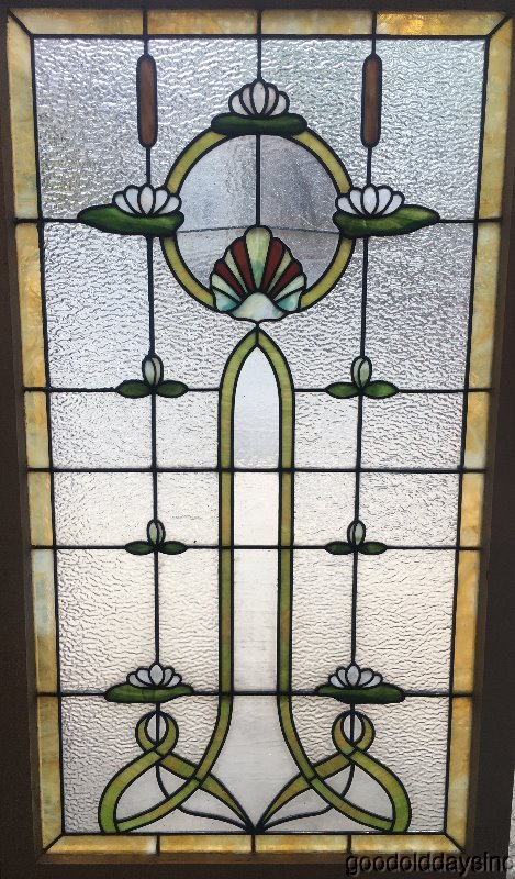 Wow Beautiful Cattail Lily Pads Stained Leaded Glass Window from Chicago