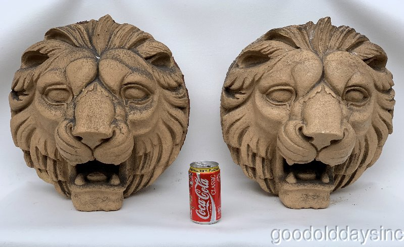 "2 Antique Round Terra Cotta Lion Heads 15.5"" Face Exterior Keystone from Chicago"