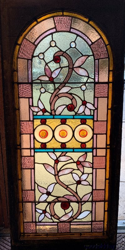 Antique Chicago Victorian Stained Leaded Glass Arched Top Window w/ Jewels