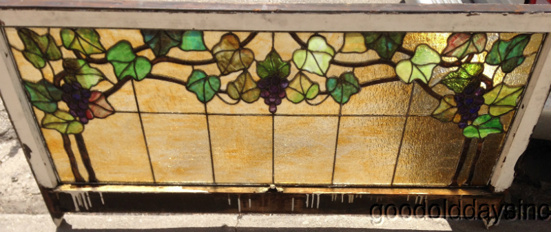 "Antique Stained Glass Grape Vine Window Transom 56"" x 28"" Circa 1910"