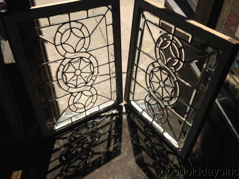 Beautiful Pair of Beveled Glass Windows Circa. 1900
