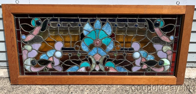"Antique Victorian Stained Leaded Glass Transom Window 45"" x 20"""
