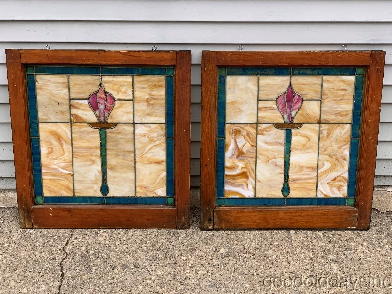 Pair of 1920's Chicago Bungalow Stained Leaded Glass Windows Tulip Torch