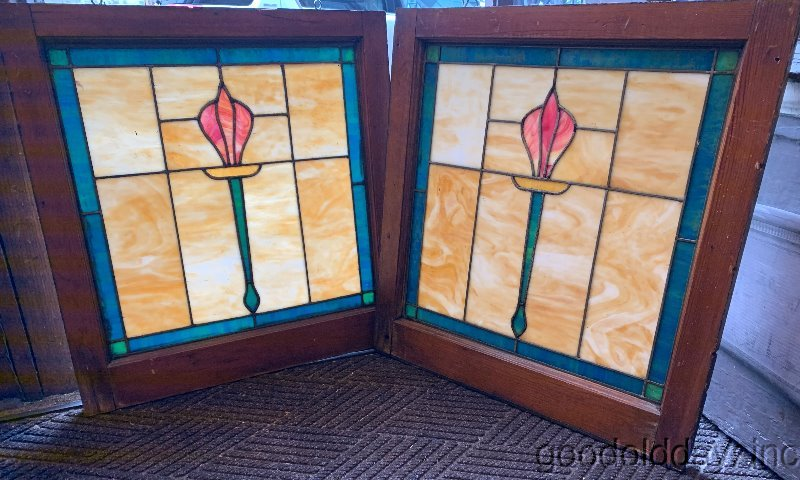 Pair of 1920s Chicago Bungalow Stained Leaded Glass Windows Tulip Torch