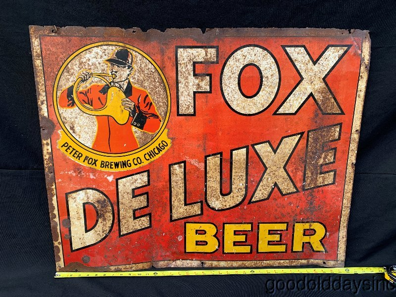 Vintage Antique Fox Deluxe Beer Chicago Old Advertising Sign