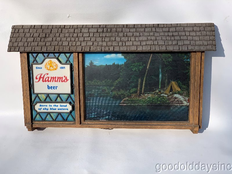 Vintage Hamms Motion Sign - Campsite - Beer Bar Light - Land of Sky Blue Waters